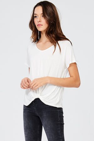 Load image into Gallery viewer, Raglan Front Knot Soft V Neck Tee