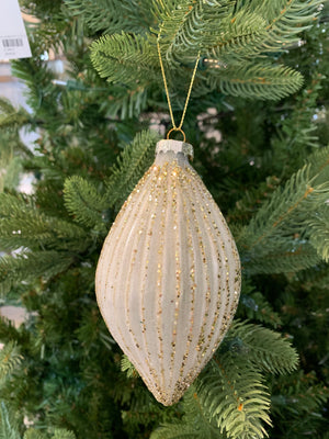 Oblong Fluted Glass Ornament