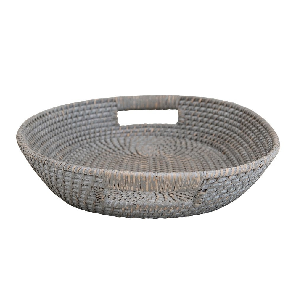 Rattan & Palm Tray with Handles