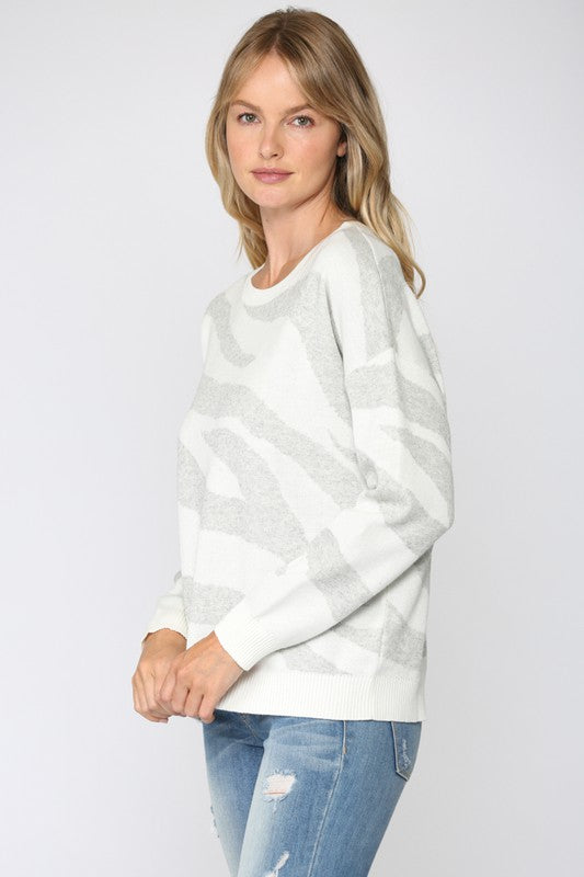 Zebra Knit Sweater Heather Grey/Ivory