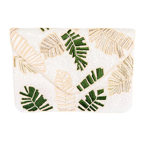 Load image into Gallery viewer, Beaded Ivory + Green Leaf Clutch