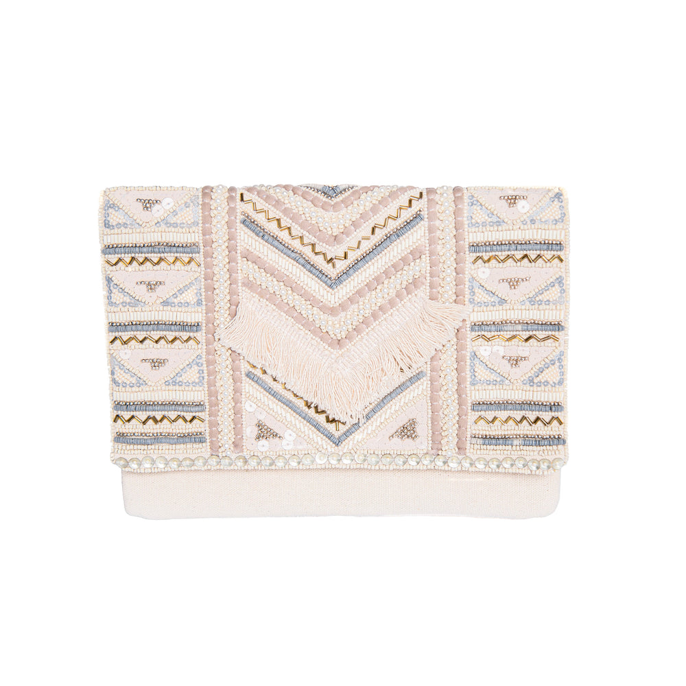 Cream Boho Clutch with Fringe