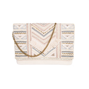 Load image into Gallery viewer, Cream Boho Clutch with Fringe