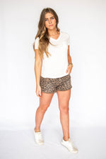 Highwaist Leopard Print Shorts with Fringe