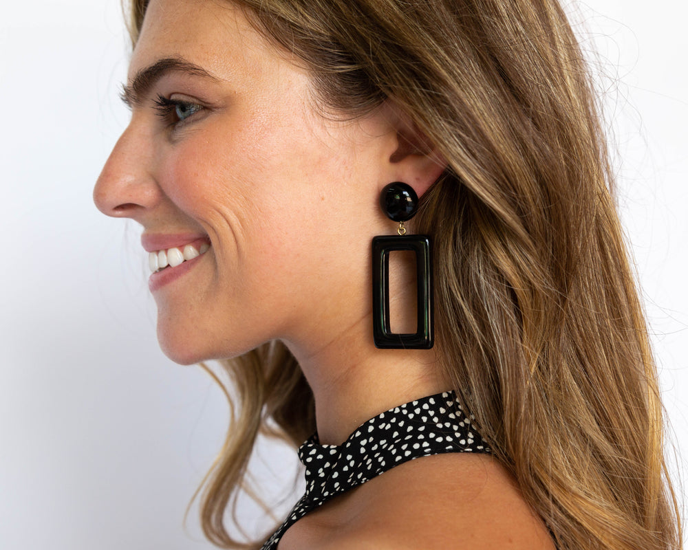 Load image into Gallery viewer, Black Rectangle Earrings