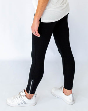 Black Leggings with Zipper Detail