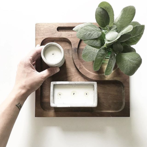 Concrete Rectangle Candle | Tobacco Patchouli