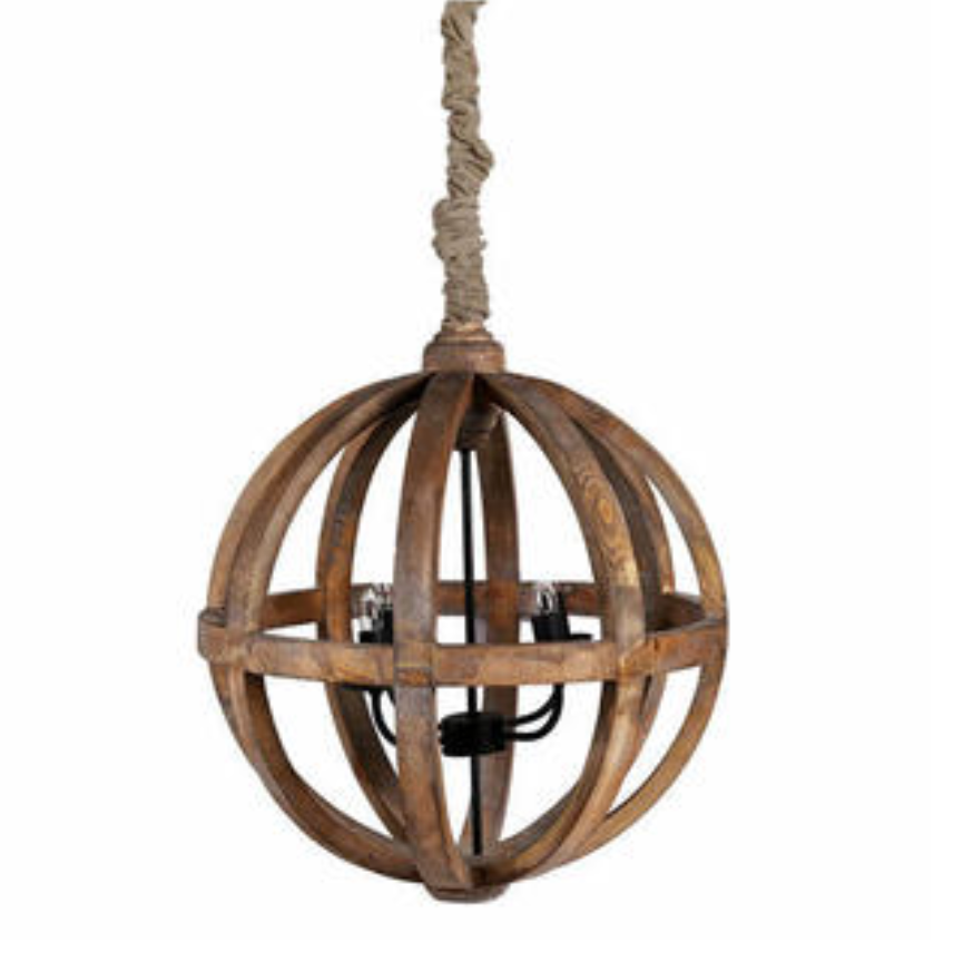 Load image into Gallery viewer, Daniel Wood & Iron Round Chandelier