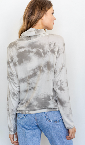 Load image into Gallery viewer, Long Sleeve Cowl Neck Tie Dye Top