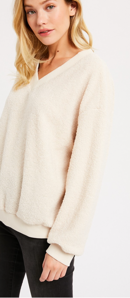 Load image into Gallery viewer, Michelle Fluffy V-Neck Sweater