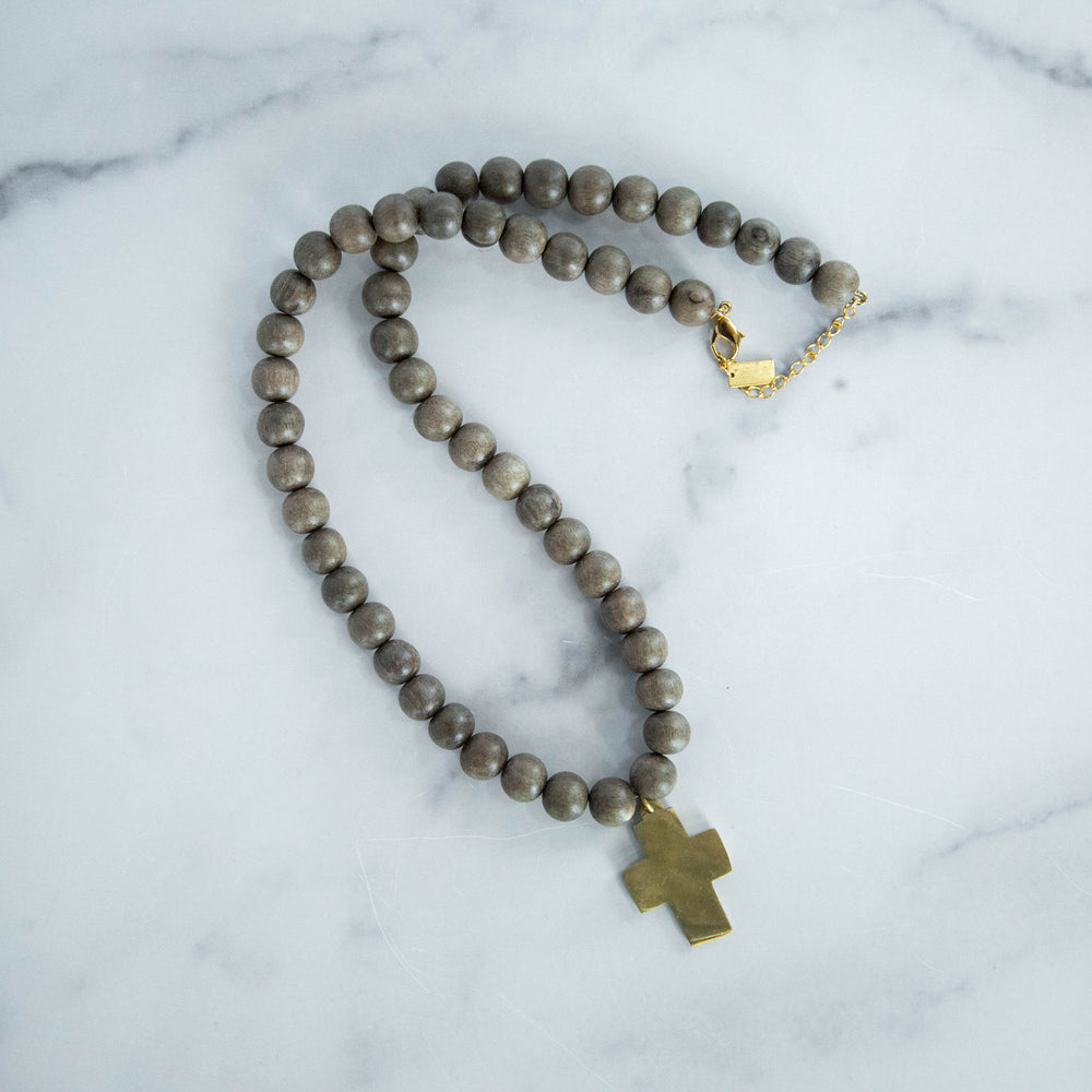 Chunky Beaded Necklace with Cross, Grey