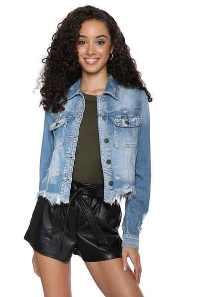Frayed Hem Cropped Denim Jacket