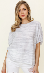 Short Sleeve White + Grey Textured Top