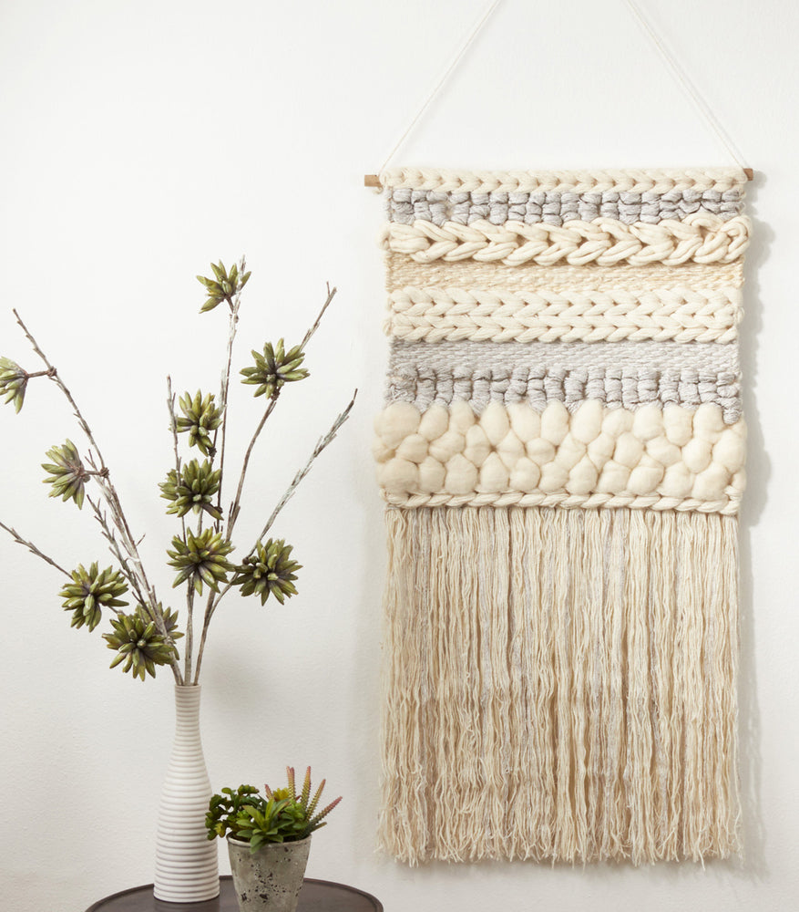 Textured Woven Wall Hanging Grey