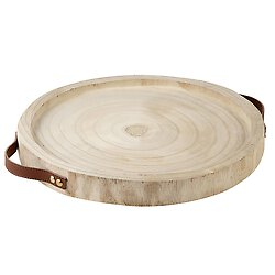 Natural Paulownia Wood and Leather Tray