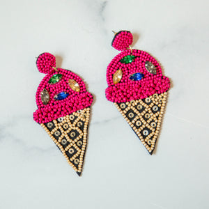 Beaded Fuschia Ice Cream Earrings