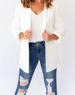 Cream Rolled Sleeve Blazer