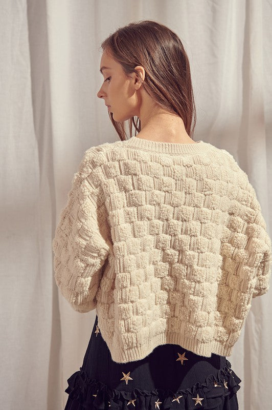 Load image into Gallery viewer, Fuzzy Basketweave Knit Sweater