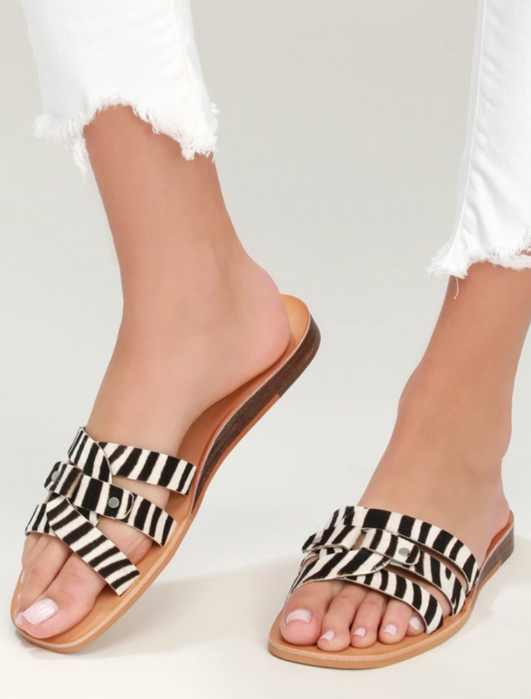 Calf Hair Slide On Sandals - Zebra