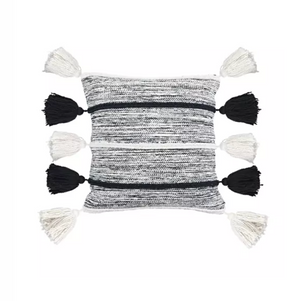 Black & Ivory Tassel Pillow