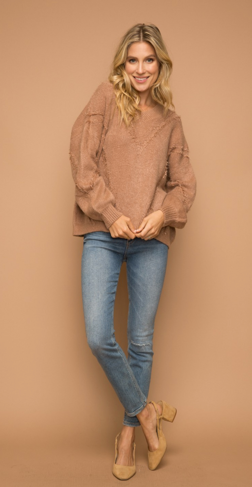 Distressed V Neck Sweater - Mocha