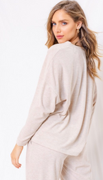 Long Sleeve Button Detail Top Oatmeal