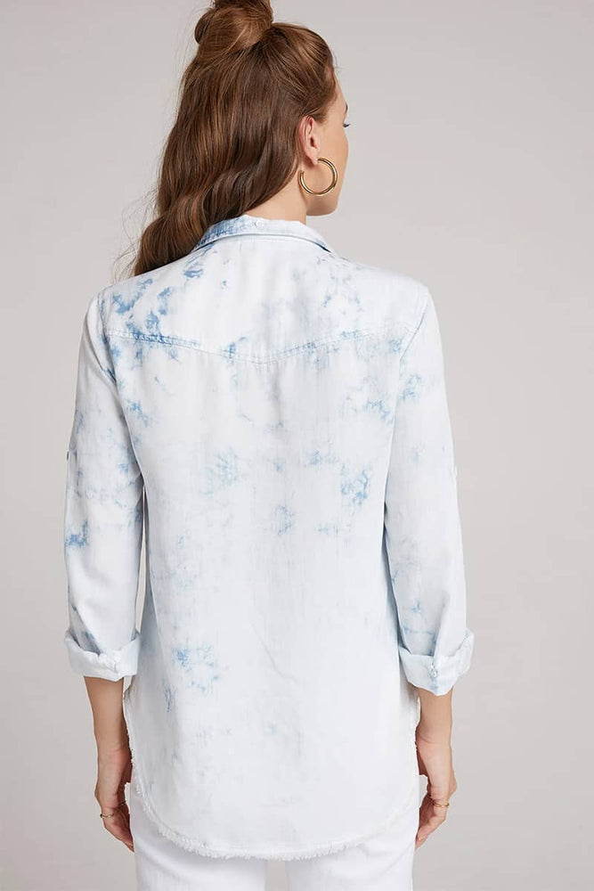Blue & White Tie-Dyed Shirt by Bella Dahl