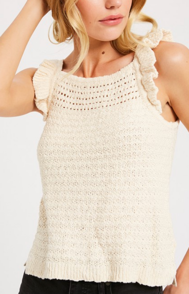 Load image into Gallery viewer, Lena Ruffle Strap Knit Tank