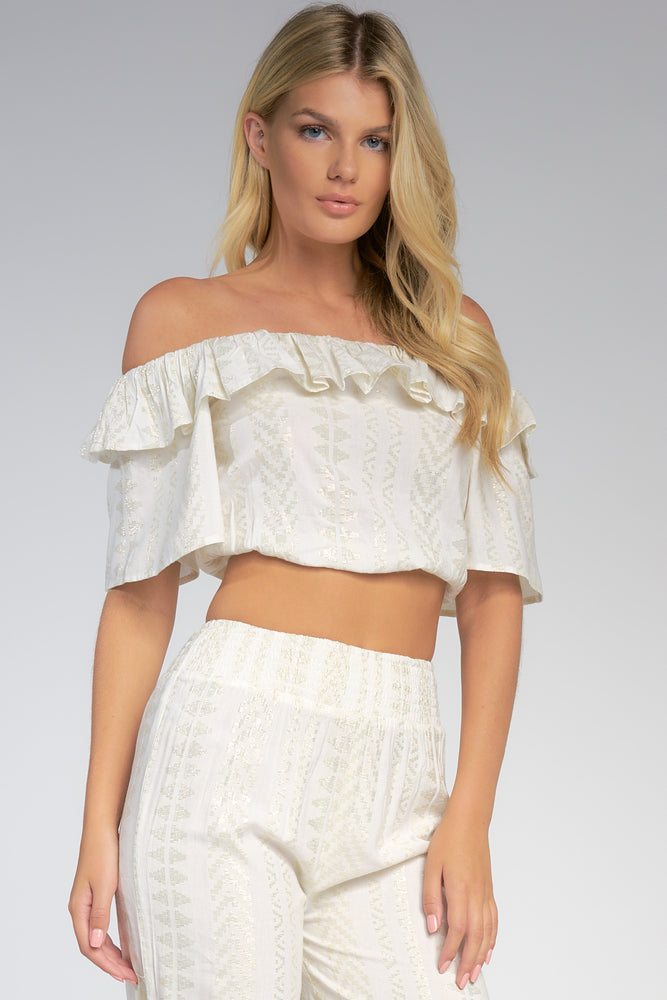 Cropped Off The Shoulder Top with Ruffles