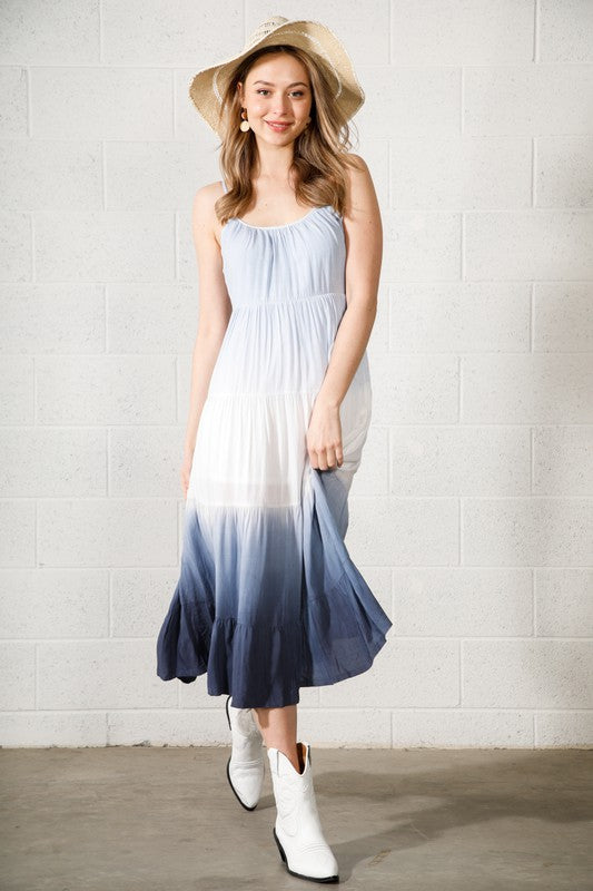 Tiered Ombre Midi Dress