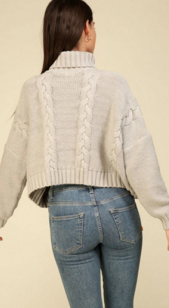 Grey Cable Knit Turtle Neck Sweater
