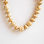Wood Necklace with Rattan Balls