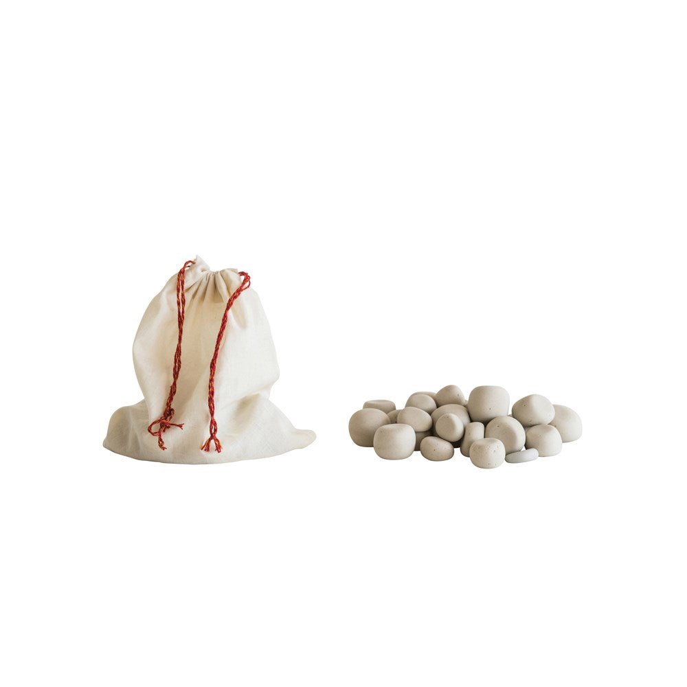 Stone Pebbles in Cotton Muslin Bag, Natural