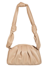 Faux Leather Knotted Handle Hand Bag