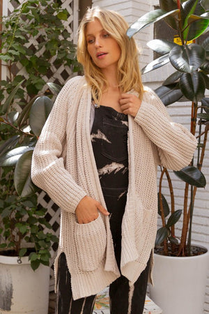 Chenille Cable Knit Basic Cardigan