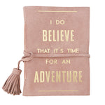 Time for an Adventure Pink Suede Journal
