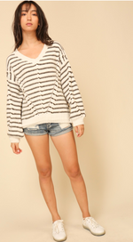 Ivory & Olive Oversized Striped Chenille Sweater