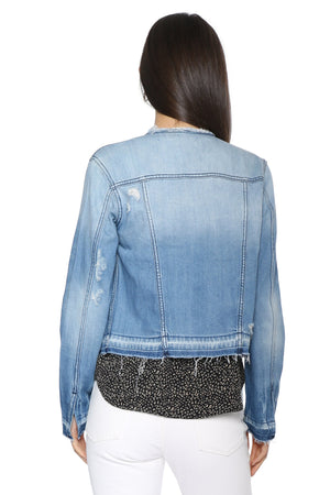 Load image into Gallery viewer, Collarless Denim Jacket