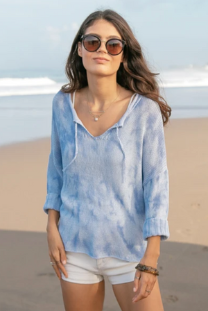 Cove Split Collar Tie Dye Top