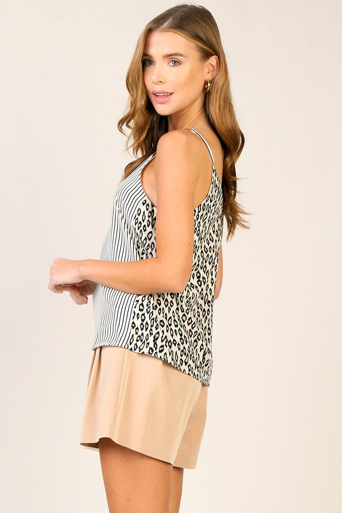 Load image into Gallery viewer, Leopard Contrast Stripe Cami