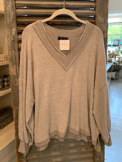 V-Neck Brushed Jersey Boxy Lightweight Sweater