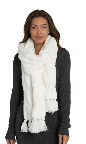 Cozy Cable Scarf in Pearl