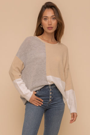 Grey & Taupe Color Block Sweater