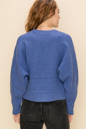Crew Neck Dolman Long Sleeve Sweater
