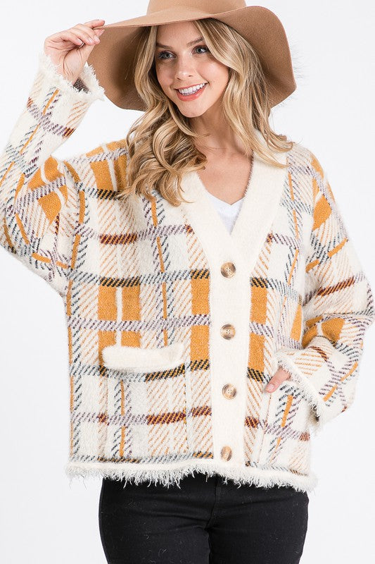 Frayed Edge Plaid Sweater Cardigan