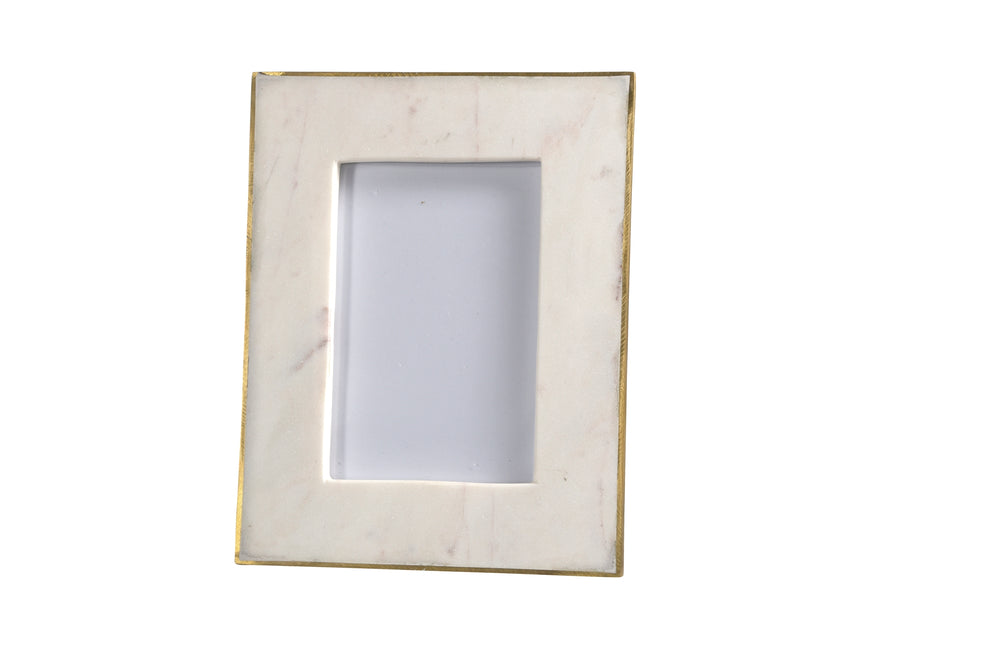 Marble Picture Frame With Brass Trim - 4 x 6