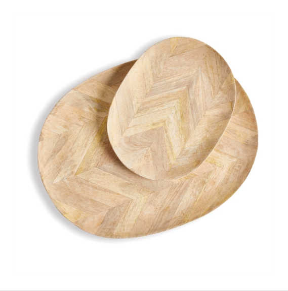 Herringbone Pattern Oval Trays
