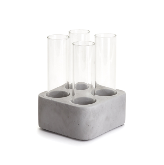 Industrial Four Vase Display in Concrete Base