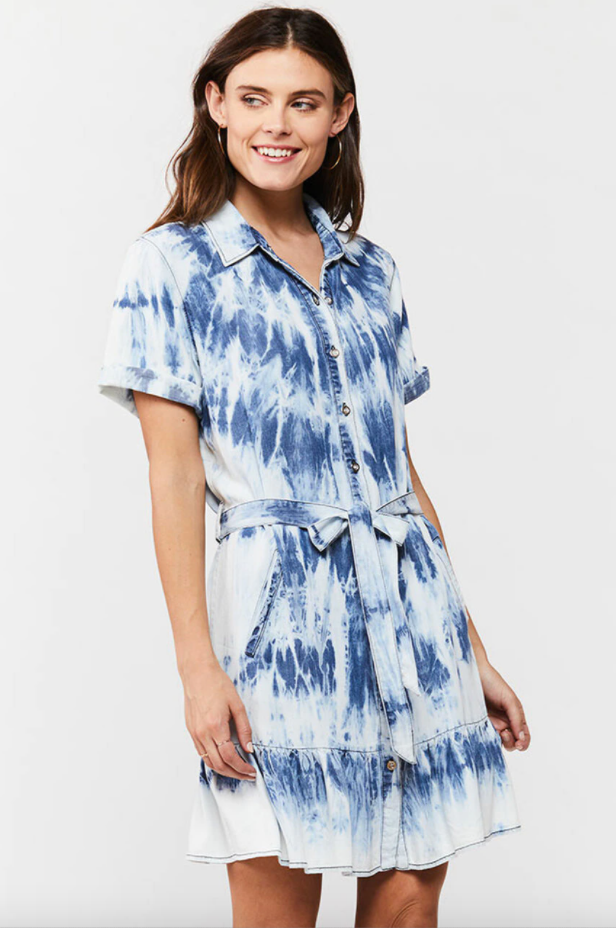 Load image into Gallery viewer, Tie Dye Tie Button-Up Dress with Ruffle Hem