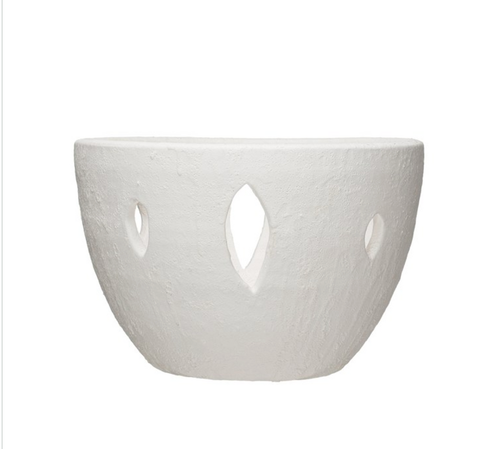 White Cut-Out Terra-Cotta Bowl